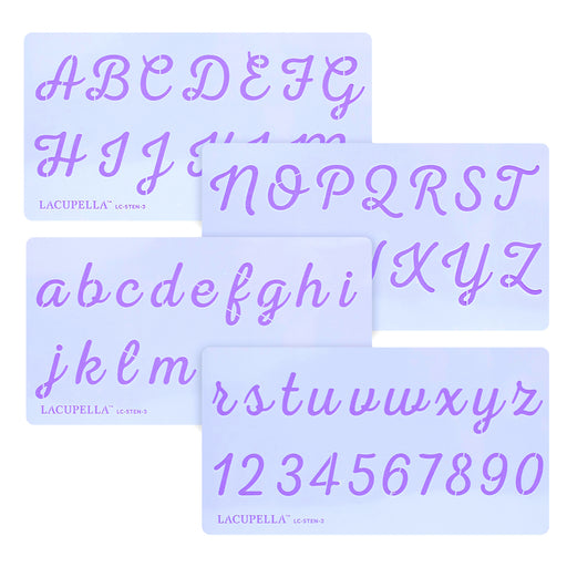 Acrylic Script Stencils - Letters & Numbers