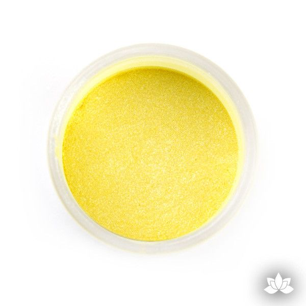 Lemon Sherbert Luster Dust color perfect for adding accents to your cakes and cupcakes.  Wholesale cake supply.  Bakery Supply.  Yellow Lustre Dust Color.