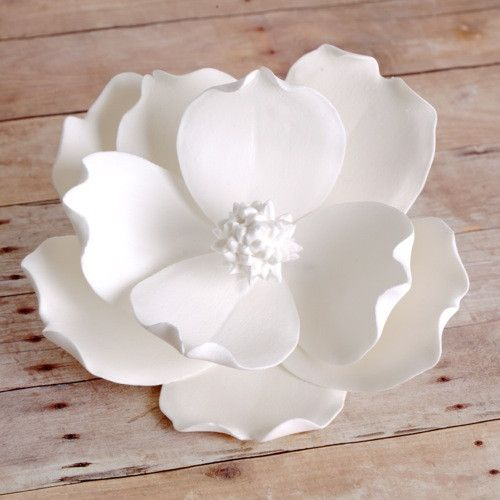 Large White Gumpaste Magnolia handmade gumpaste cake topper decoration.