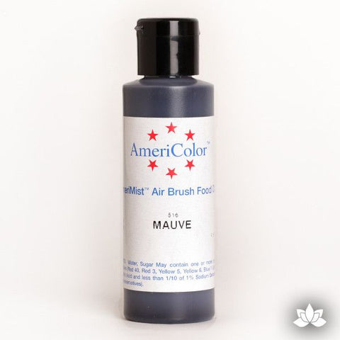 Mauve AmeriMist Air Brush Color 4.5 oz is a highly concentrated air brush color perfect for coloring non-dairy whipped icing, toppings, rolled fondant, gum paste flowers, and buttercream. Wholesale edible air brush color.
