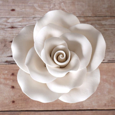Large Gumpaste Rose Sugarflower cake topper perfect for cake decorating fondant cakes & wedding cakes.  Wholesale sugarflowers.  Wholesale cake supply.