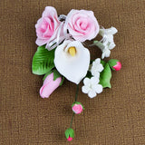 Medium Tea Rose & Calla Lily Sprays in Pink are gumpaste sugarflower cake decorations perfect as cake toppers for cake decorating fondant cakes and wedding cakes. Caljava wholesale cake supply. | CaljavaOnline.com
