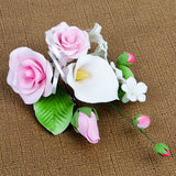 Medium Tea Rose & Calla Lily Sprays in Pink are gumpaste sugarflower cake decorations perfect as cake toppers for cake decorating fondant cakes and wedding cakes. Caljava wholesale cake supply.