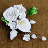 Medium Tea Rose & Calla Lily Sprays in White are gumpaste sugarflower cake decorations perfect as cake toppers for cake decorating fondant cakes and wedding cakes. Caljava wholesale cake supply.