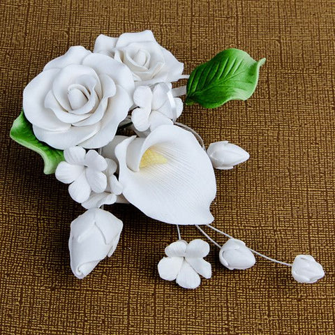 Medium Tea Rose & Calla Lily Sprays - White