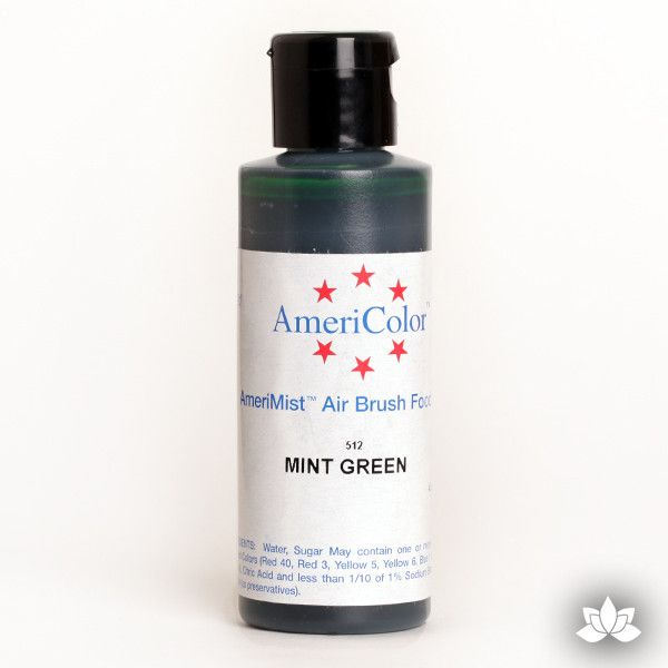 Mint Green AmeriMist Air Brush Color 4.5 oz is a highly concentrated air brush color perfect for coloring non-dairy whipped icing, toppings, rolled fondant, gum paste flowers, and buttercream. Wholesale edible air brush color.