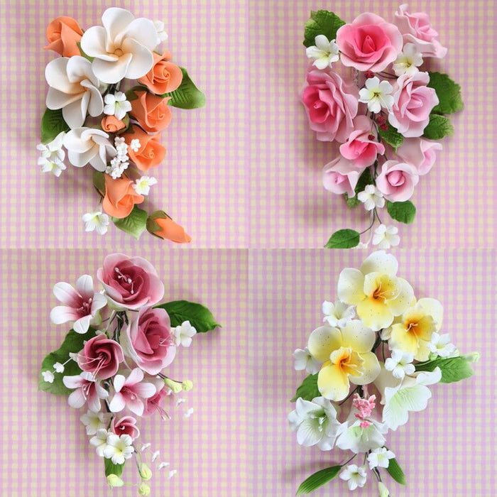 Large Mix Sprays are gumpaste sugarflower cake decorations perfect as cake toppers for cake decorating fondant cakes and wedding cakes. Caljava wholesale cake supply.4 Large Mix Sprays - Mix 1