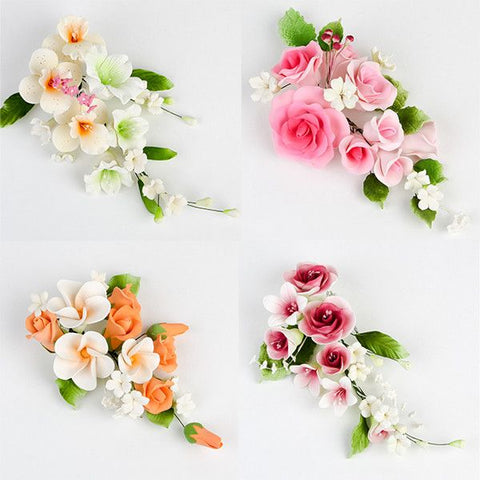 Large Mix Sprays are gumpaste sugarflower cake decorations perfect as cake toppers for cake decorating fondant cakes and wedding cakes. Caljava wholesale cake supply.