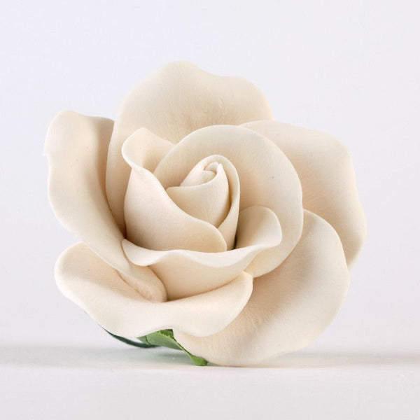 Large Ivory Gumpaste Rose Sugar Flower cake topper perfect for cake decorating fondant cakes, wedding cakes, and cupcakes.  Wholesale cake decorations supply.