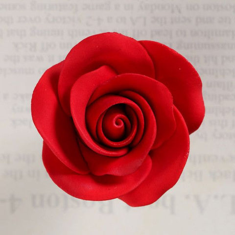 Red Gumpaste Rose Sugarflowers cake decorations perfect for cake decorating fondant cakes & wedding cakes. Wholesale cake supply. Gumpaste flower supply.