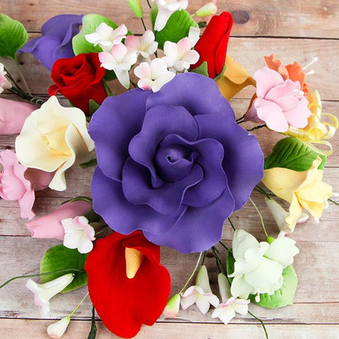 Large Tea Rose & Calla Lily Combo Sprays are gumpaste sugarflower cake decorations perfect as cake toppers for cake decorating fondant cakes and wedding cakes. Caljava wholesale cake supply.