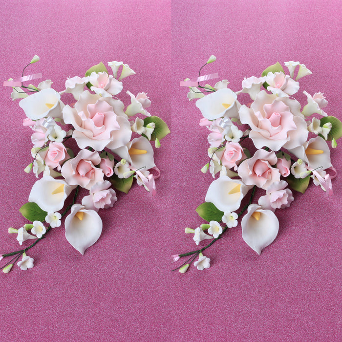 Large Tea Rose & Calla Lily Combo Sprays - Pink