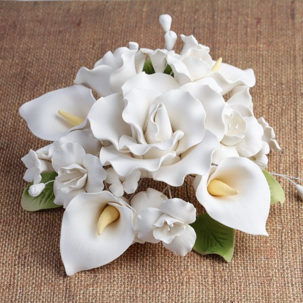 Gumpaste Flowers For Wedding Cakes: Large Tea Rose & Calla Lily Topper