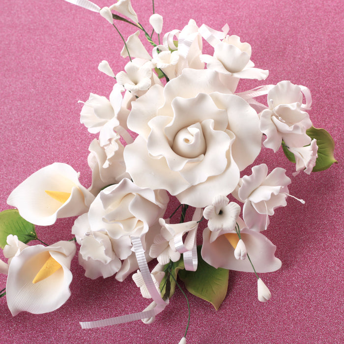 Large Tea Rose & Calla Lily Sprays - White