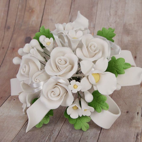 White Tea Rose and African Orchid Cake Topper