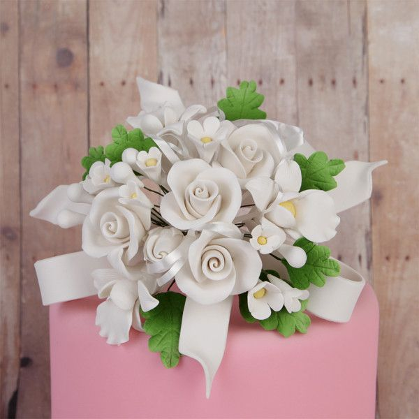 White Tea Roses and African Orchid Cake Topper sugarflower cake decoration great for cake decorating your own cakes. | CaljavaOnline.com