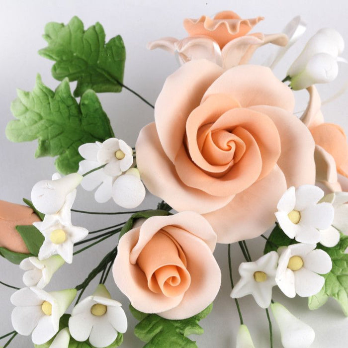Large Peach Gumpaste Rose & Orchid Spray SugarFlower cake topper perfect for cake decorating fondant cakes, wedding cakes, and cupcakes.  Wholesale cake decorations supply.