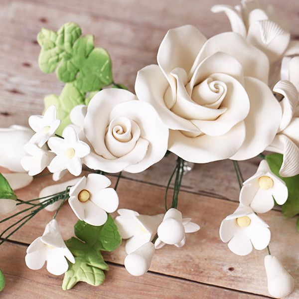 White Rose Sugarflower Cake Topper great for cake decorating wedding cakes or birthday cakes. Cake Supply. | CaljavaOnline.com