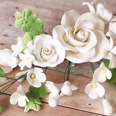 Large Tea Rose Sprays - White