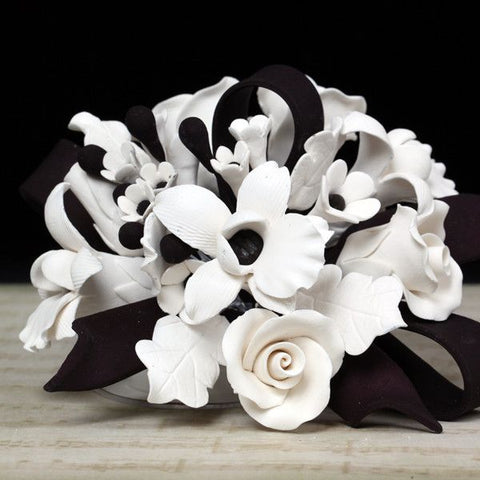 White & Black Tea Rose and African Orchid Cake Topper