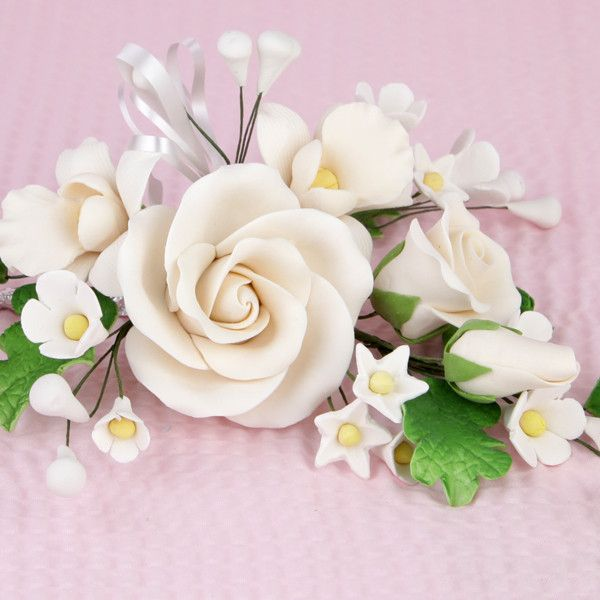 Large Tea Rose Sprays - Ivory