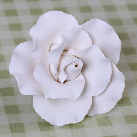 White Gumpaste Cabbage Rose handmade cake decoration.