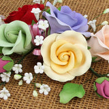 Garden Rose Sprays are gumpaste sugarflower cake decorations perfect as cake toppers for cake decorating fondant cakes and wedding cakes. Caljava wholesale cake supply.