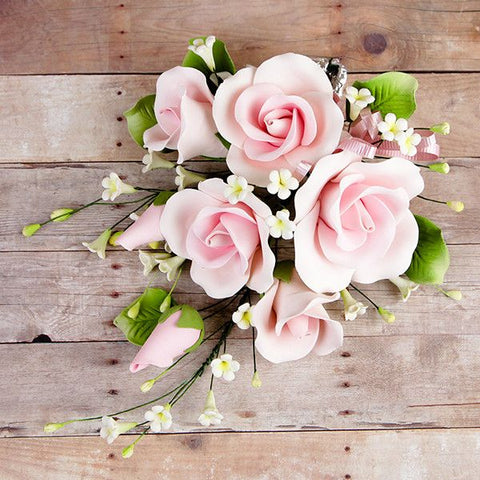 Garden Rose Sprays in Pink are gumpaste sugarflower cake decorations perfect as cake toppers for cake decorating fondant cakes and wedding cakes. Caljava wholesale cake supply.
