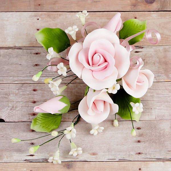 Trio Garden Rose Sprays in Pink are gumpaste sugarflower cake decorations perfect as cake toppers for cake decorating fondant cakes and wedding cakes. Caljava wholesale cake supply.