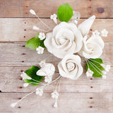 Trio Garden Rose Sprays in White are gumpaste sugarflower cake decorations perfect as cake toppers for cake decorating fondant cakes and wedding cakes. Caljava wholesale cake supply.