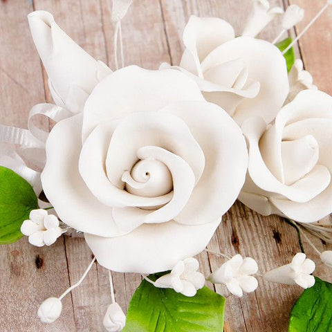 Trio Garden Rose Sprays - White