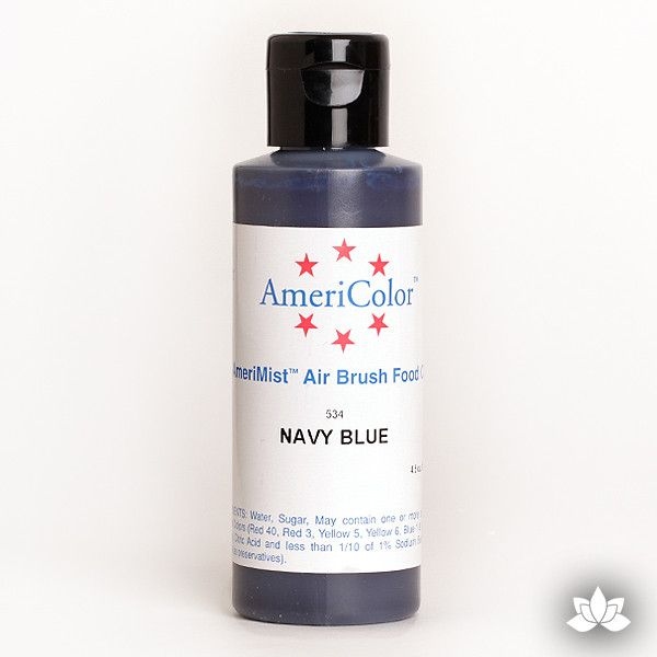 Navy Blue AmeriMist Air Brush Color 4.5 oz is a highly concentrated air brush color perfect for coloring non-dairy whipped icing, toppings, rolled fondant, gum paste flowers, and buttercream. Wholesale edible air brush color.