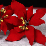 Red Gumpaste Poinsettia sugarflower cake topper perfect for cake decorating rolled fondant christmas cakes and cupcakes.  Wholesale cake decorations for christmas.