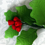 Holliberries and Poinsettia Combo Gumpaste Sugarflower Sprays cake toppers perfect for cake decorating fondant christmas cakes and treats. Wholesale cake supply
