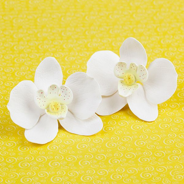 Phalaenopsis Orchids in White are gumpaste sugarflower cake decorations perfect as cake toppers for cake decorating fondant cakes and wedding cakes. Caljava wholesale cake supply.