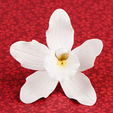 Cymbidium Orchids in White are gumpaste sugarflower cake decorations perfect as cake toppers for cake decorating fondant cakes and wedding cakes. Caljava wholesale cake supply.