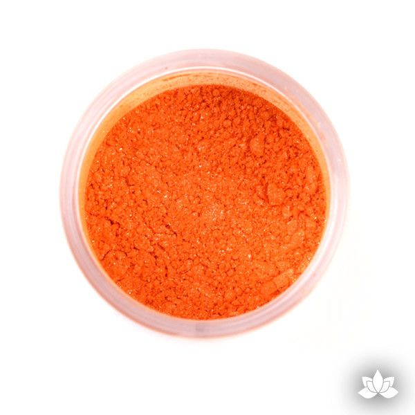 Orange Luster Dust Colors food coloring perfect for cake decorating fondant cakes, cupcakes, cake pops, wedding cakes, and sugarflowers. Dusting color. Cake supply.