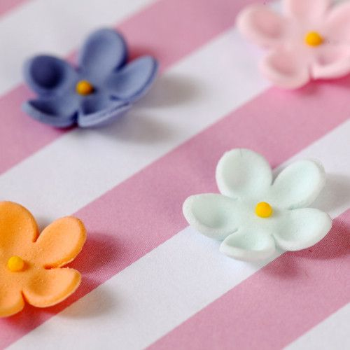 Mixed colored set of Edible Mini Blossom cupcake toppers handmade cake decoration.