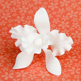 Small Cattleya Orchids are gumpaste sugarflower cake decorations perfect as cake toppers for cake decorating fondant cakes and wedding cakes. Caljava wholesale cake supply.