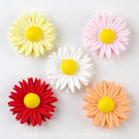 Mixed Petite Daisy Gumpaste Sugarflower cake decorations perfect as cake toppers on fondant cakes & cupcakes.  Wholesale cake decorating supply. Caljava