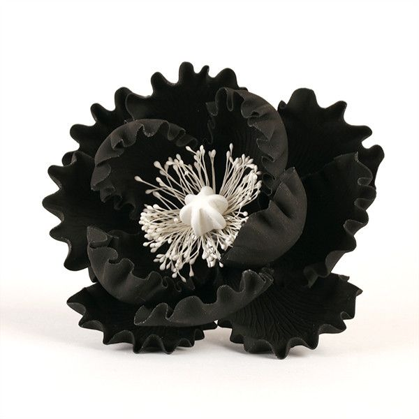 Black Gumpaste Large Peony sugarflower cake toppers perfect for cake decorating rolled fondant wedding cakes and birthday cakes.  Wholesale cake supply & sugarflowers. Caljava