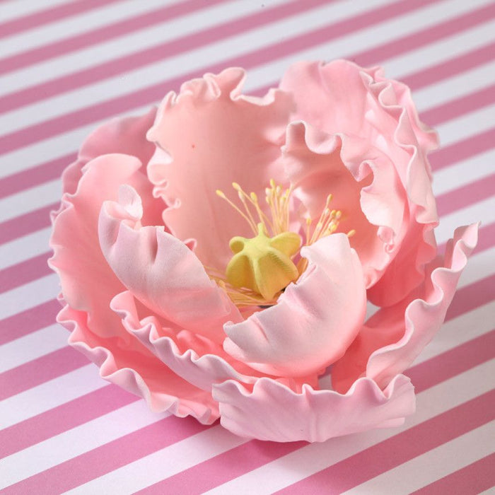 Mixed Colors of Gumpaste Large Peony sugarflower cake toppers perfect for cake decorating rolled fondant wedding cakes and birthday cakes.  Wholesale cake supply & sugarflowers.  Set of mixed colored gumpaste peony handmade cake decorations. Caljava
