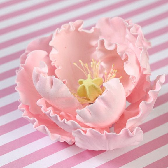 Pink Gumpaste Large Peony sugarflower cake toppers perfect for cake decorating rolled fondant wedding cakes and birthday cakes.  Wholesale cake supply & sugarflowers. Large Pink Gumpaste Peonies handmade cake decorations. Caljava