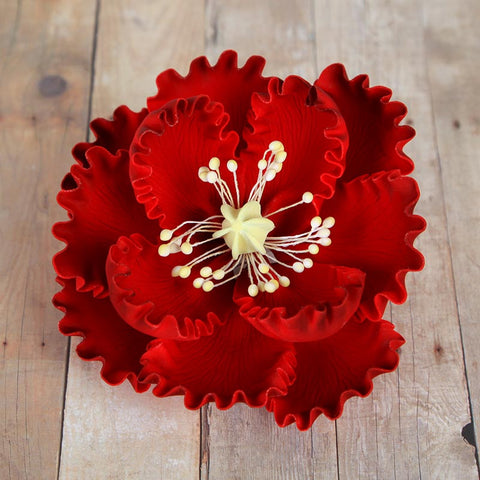 Red Gumpaste Large Peony sugarflower cake toppers perfect for cake decorating rolled fondant wedding cakes and birthday cakes.  Wholesale cake supply & sugarflowers.  Caljava