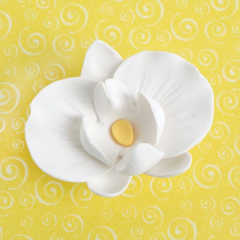 White Edible Gumpaste Phalaenopsis Orchids and Buds sugarflower cake decoration perfect for cake decorating fondant cakes with a cake topper. Wholesale cake supply. Caljava