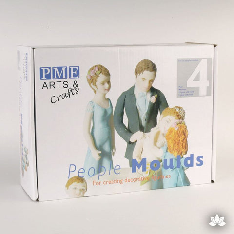 People Mold for Gumpaste figure making by PME.  Perfect for forming realistic people figures with gumpaste or rolled fondant for cake decorating.  Perfect for rolled fondant wedding cakes and birthday cakes.