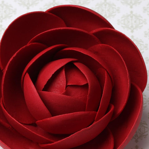 Red Gumpaste Glam Rose sugarflower handmade cake decoration perfect as a cake topper for cake decorating fondant cakes.  Wholesale sugarflowers and bakery supply.