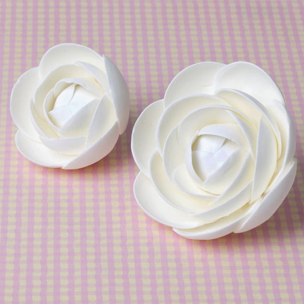 White Gumpaste Glam Rose sugarflower handmade cake decoration perfect as a cake topper for cake decorating fondant cakes.  Wholesale sugarflowers and bakery supply.