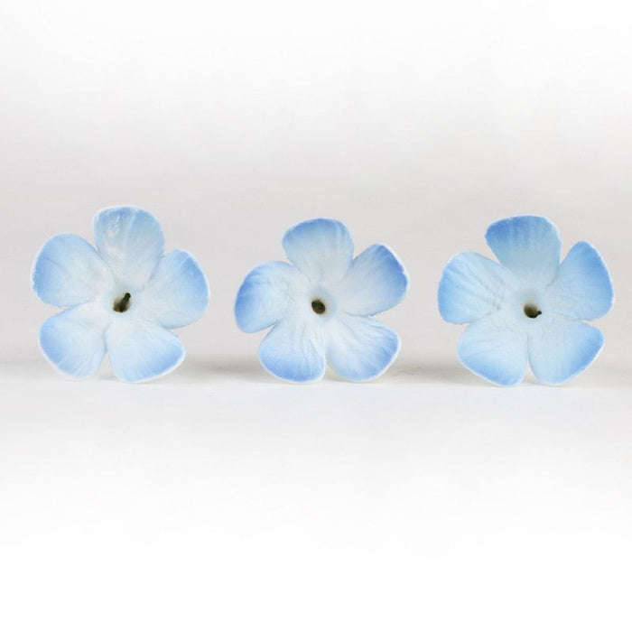 Blue Periwinkle sugarflower, gumpaste flower cake topper perfect for cake decorating fondant cakes & wedding cakes.  wholesale bakery supply. Caljava gumpaste flowers.