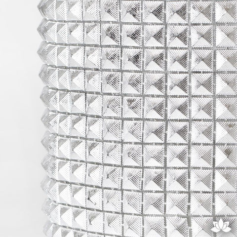 Add bling to your cake with Glam Ribbon Diamond Cake Wraps. Perfect for cake decorating rolled fondant cakes & wedding cakes. Cake decoration. Diamond Mesh. Silver Pyramid Glam Ribbon - Cake Wrap